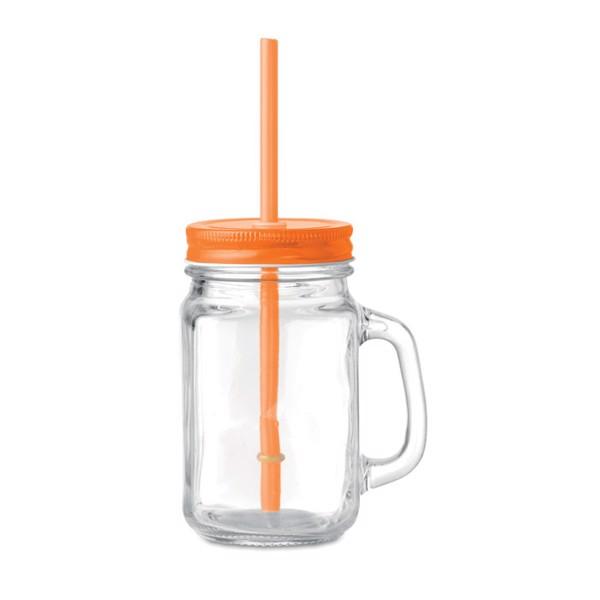 Glass Mason jar with straw Tropical Twist - Orange