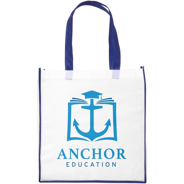Contrast large non-woven shopping tote bag - White / Blue