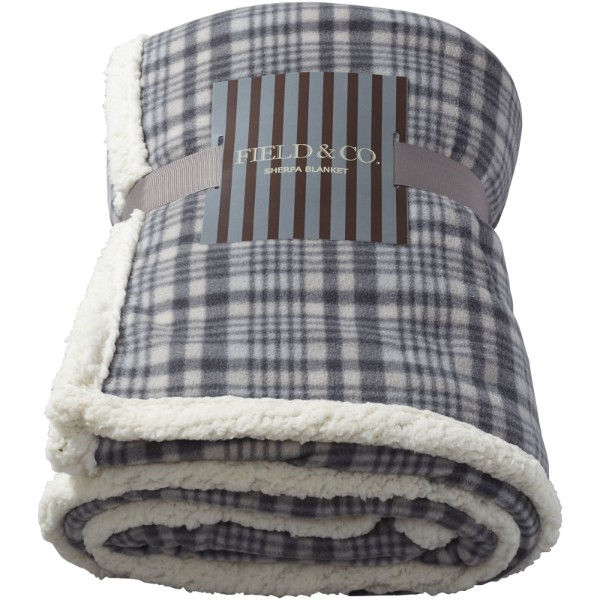 Joan sherpa plaid blanket - Grey
