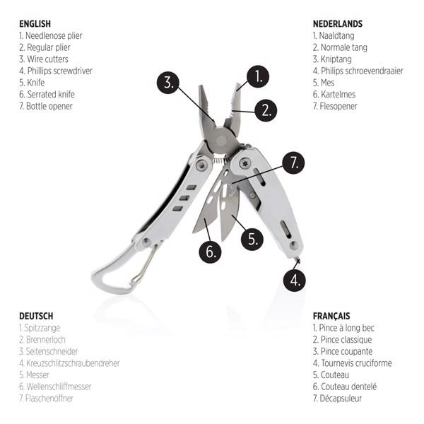 Multifunkční nůž s karabinou Solid mini - Stříbrná