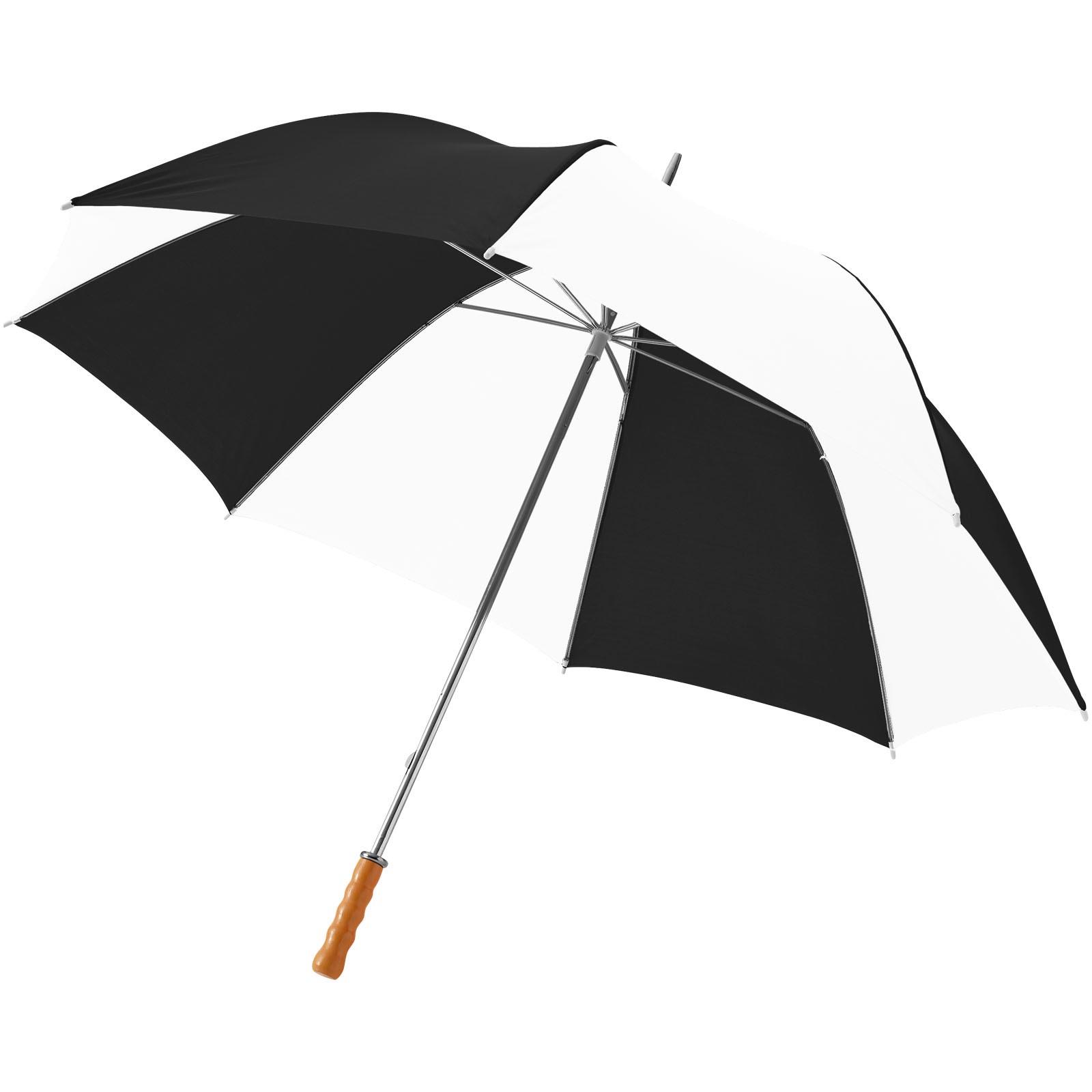 """30"""" golfový deštník Karl s dřevěnou rukojetí - Černá lesklá / Bílá"""