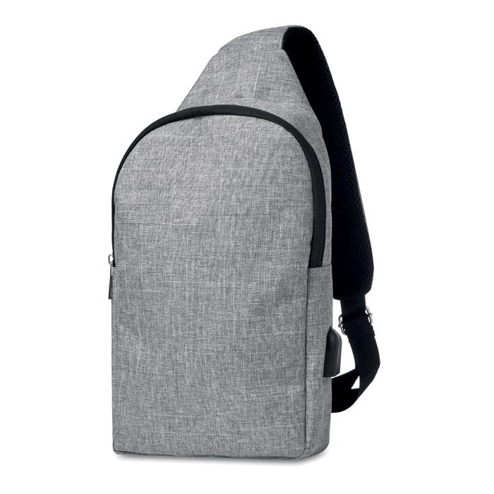 600D 2 tone polyester chest bag Momo - Grey