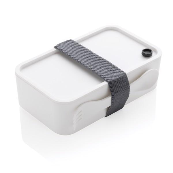 Krabička na jídlo z PP s příborem - Bílá