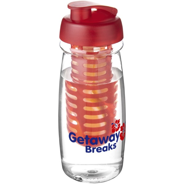 H2O Pulse® 600 ml flip lid sport bottle & infuser - Transparent / Red