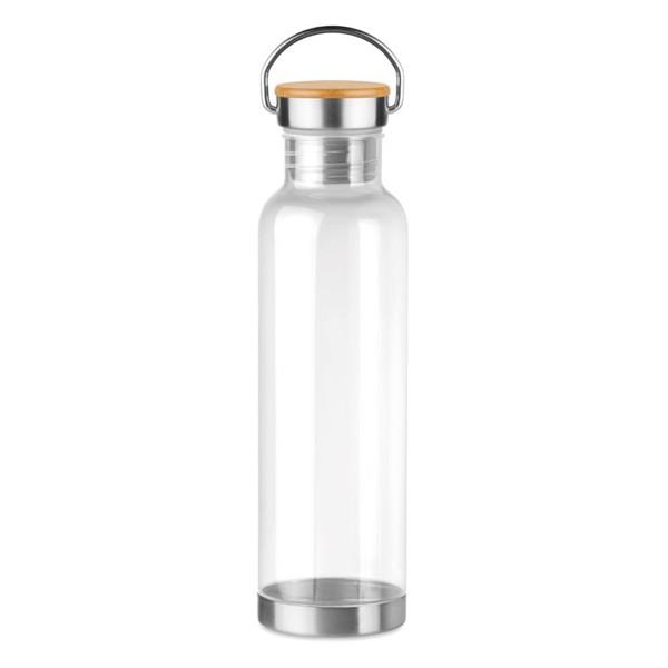 Tritan 800ml bottle bamboo top Helsinki Basic - Transparent