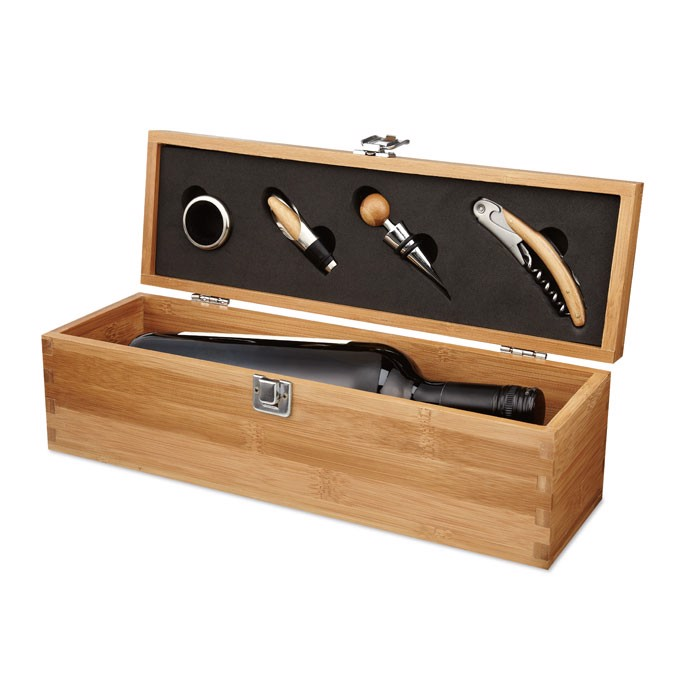 Komplet za vino v škatli iz bambusa Tador