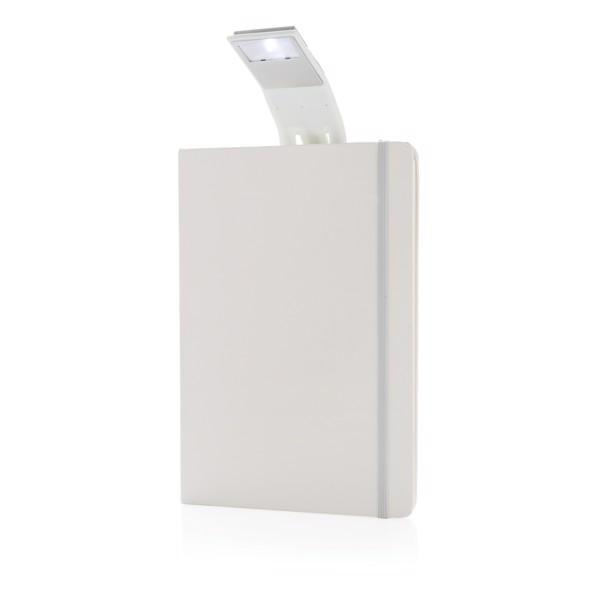 A5-ös jegyzetfüzet LED könyvjelzővel - Fehér