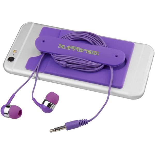 Sluchátka s kabelem a silikonové pouzdro na telefon - Purpurová