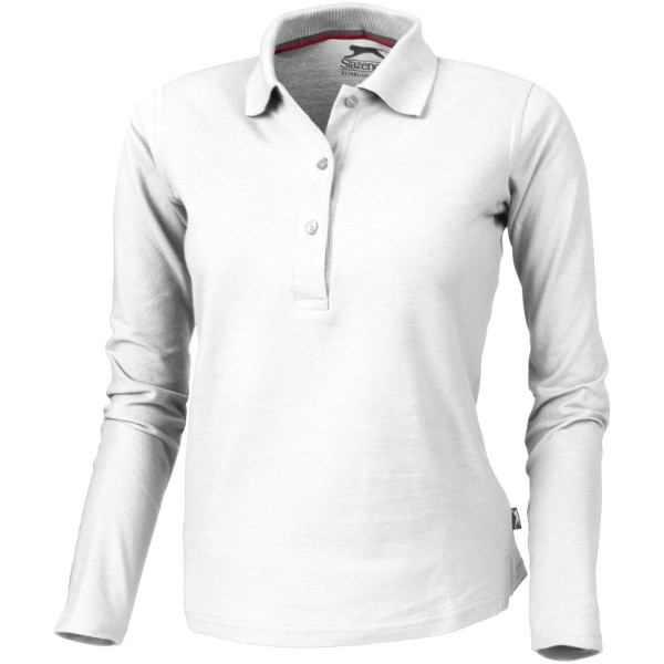 Point long sleeve women's polo - White / L