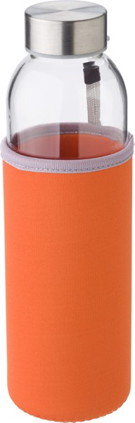 Glass bottle (500 ml) with neoprene sleeve - Orange