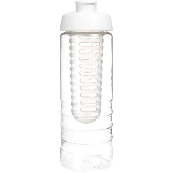 H2O Treble 750 ml Flasche mit Klappdeckel und Infusor - Transparent / Weiss