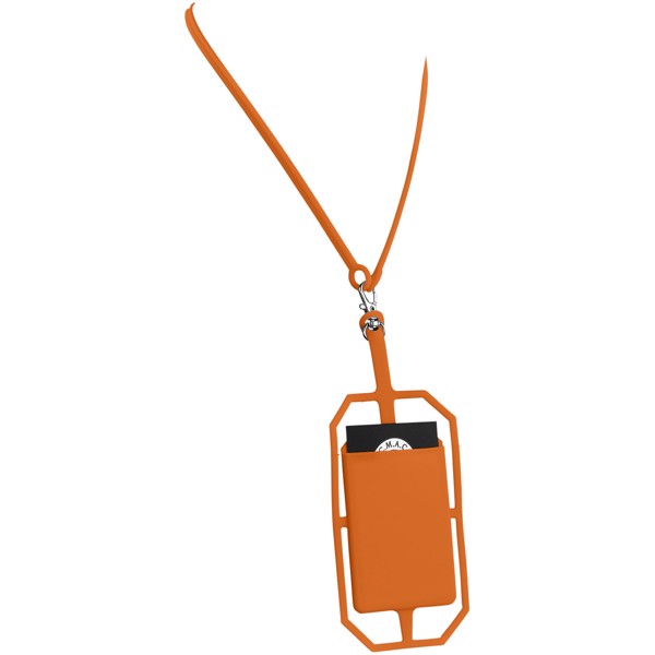 Fort-rock silicone RFID card holder with lanyard - Orange