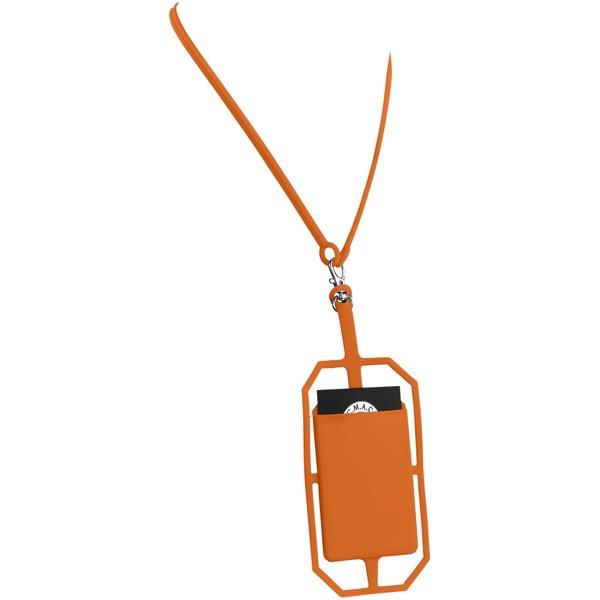Silikonové pouzdro na kartu s RFID a lanyardem - 0ranžová