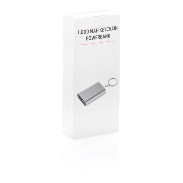 Porte-clés powerbank 1000mAh - Gris