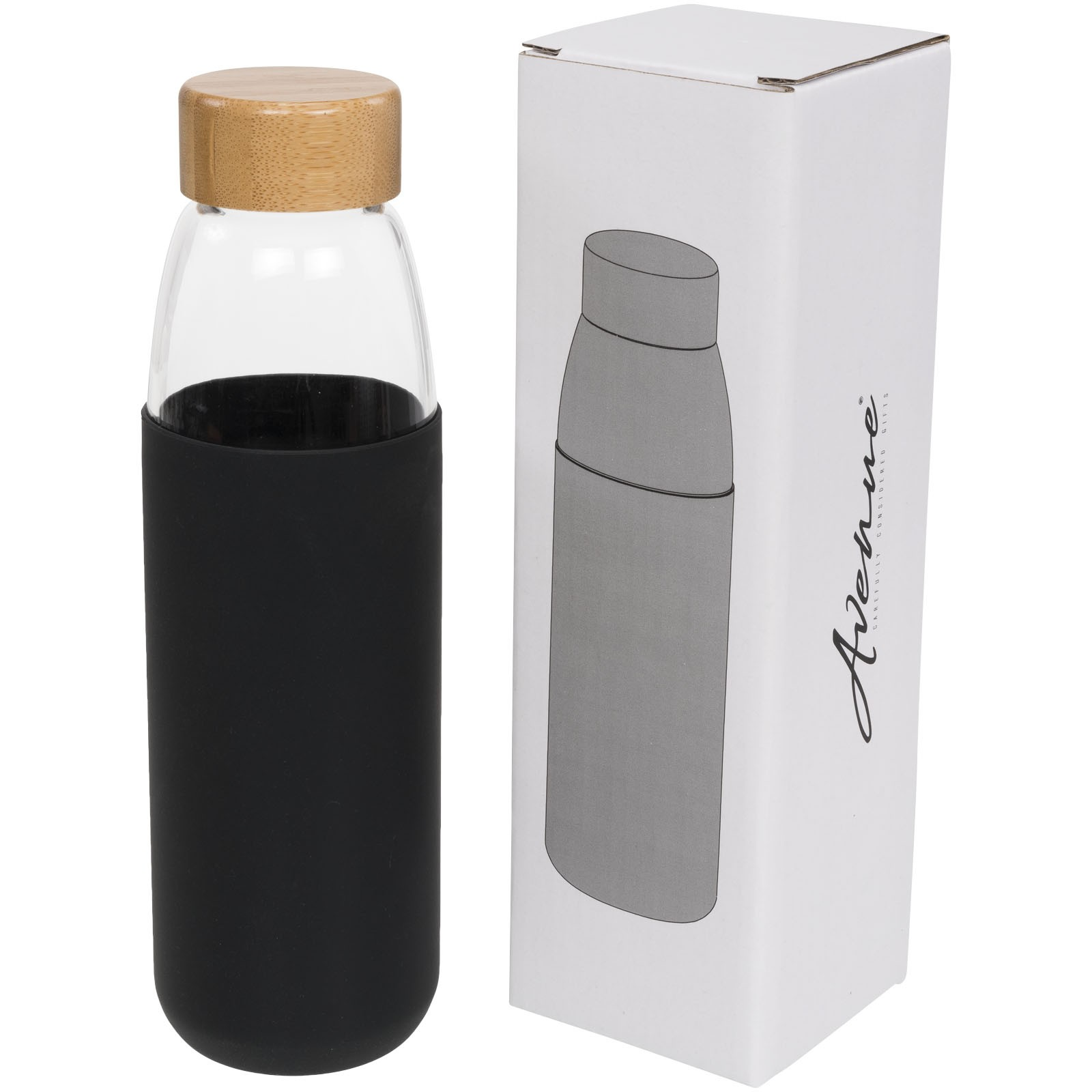 Kai 540 ml glass sport bottle with wood lid - Solid black