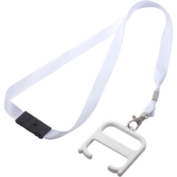 Hygiene handle with lanyard - White