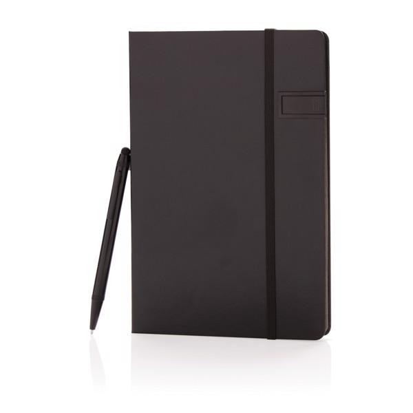 Delux 8GB USB jegyzetfüzet érintőtollal - Fekete / Fekete