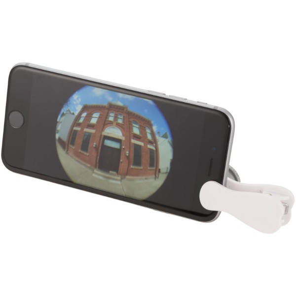 Fish-eye smartphone camera lens with clip - White / Silver