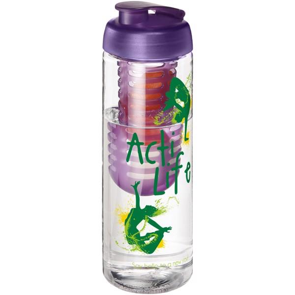 H2O Vibe 850 ml flip lid bottle & infuser - Transparent / Purple