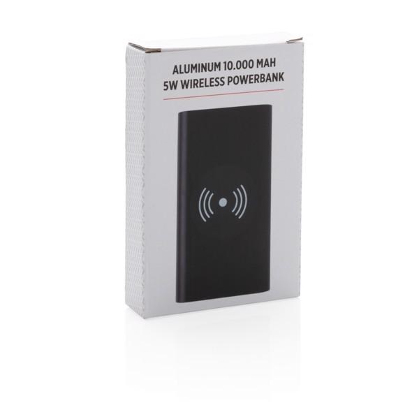 Alumínium 10 000 mAh 5W-os vezeték nélküli töltős powerbank - Fekete