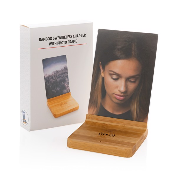 Bambusový fotorámeček s bezdrátovou nabíječkou 5W