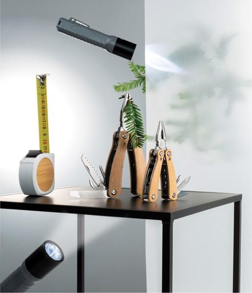 Bambusový svinovací metr - 5m/19mm - Bílá / Černá