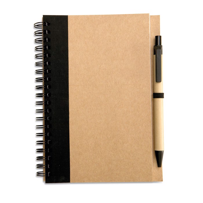 Recycled paper notebook + pen Sonora Plus - Black