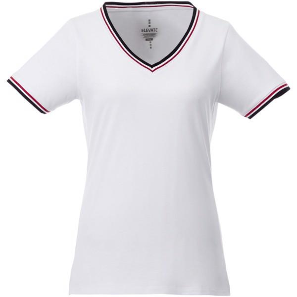 Elbert short sleeve women's pique t-shirt - White / Navy / Red / XS