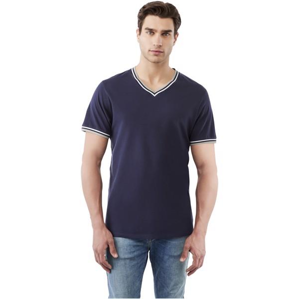 Elbert short sleeve men's pique t-shirt - Navy / Grey Melange / White / XS