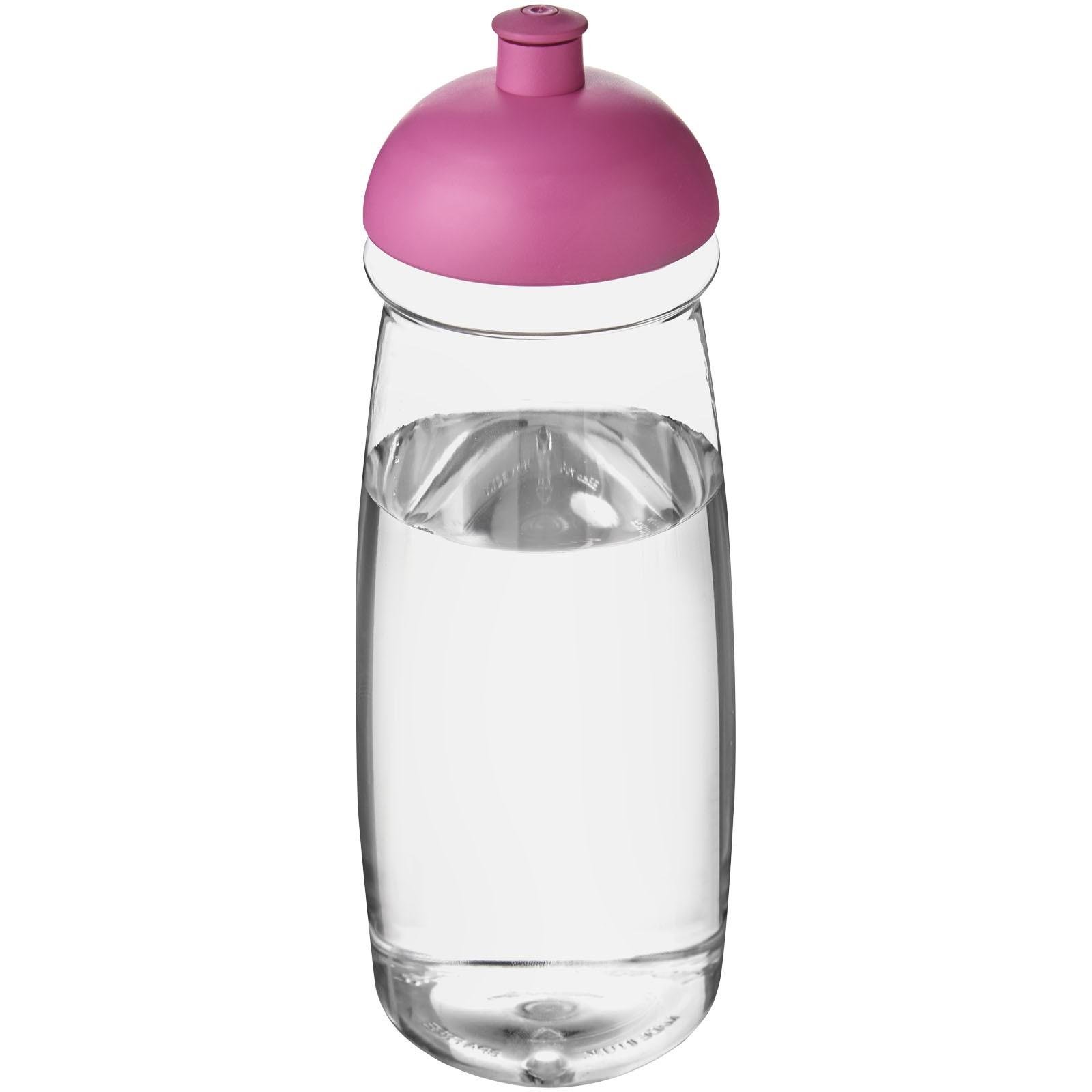 Sportovní láhev s kupolovitým víčkem H2O Pulse® 600 ml - Průhledná / Růžová