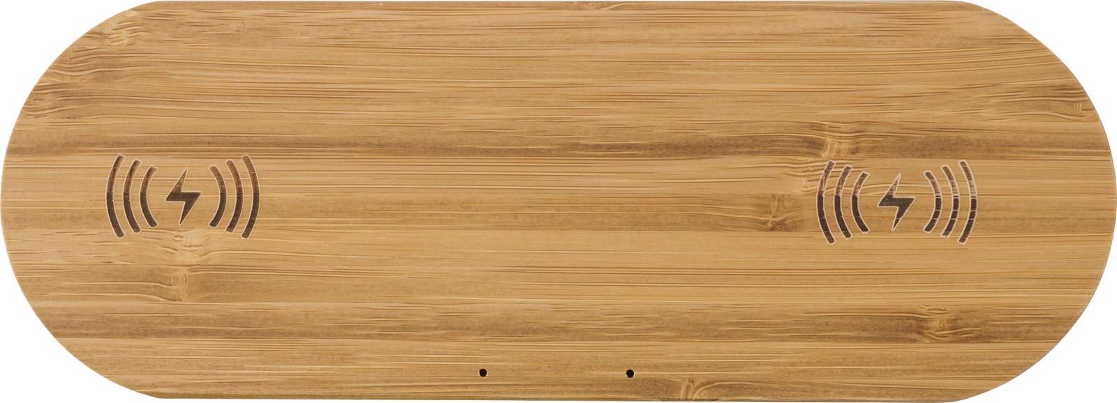 Cargador doble inalámbrico de bambú