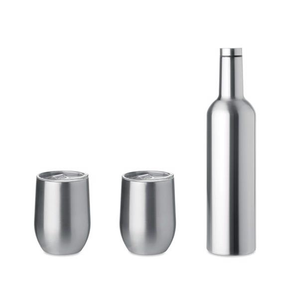 Set lahve a 2 pohárků z nerezu Chin Set