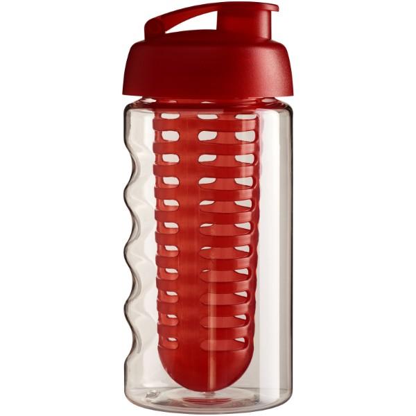 Sportovní láhev s infuzérem avyklápěcím víčkem H2O Bop® 500 ml - Průhledná / Červená s efektem námrazy