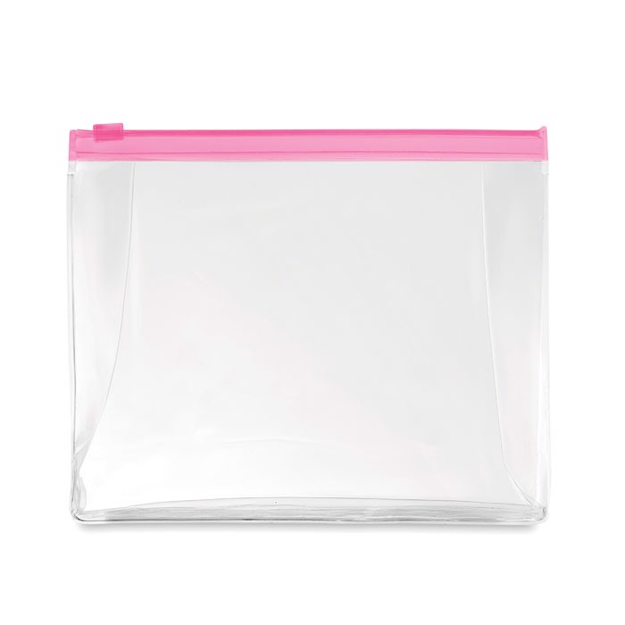 Cosmetic pouch with zipper Cosmobag - Transparent Fuchsia
