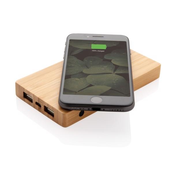 Bambusz 4000 mAh 5W-os vezeték nélküli töltős powerbank