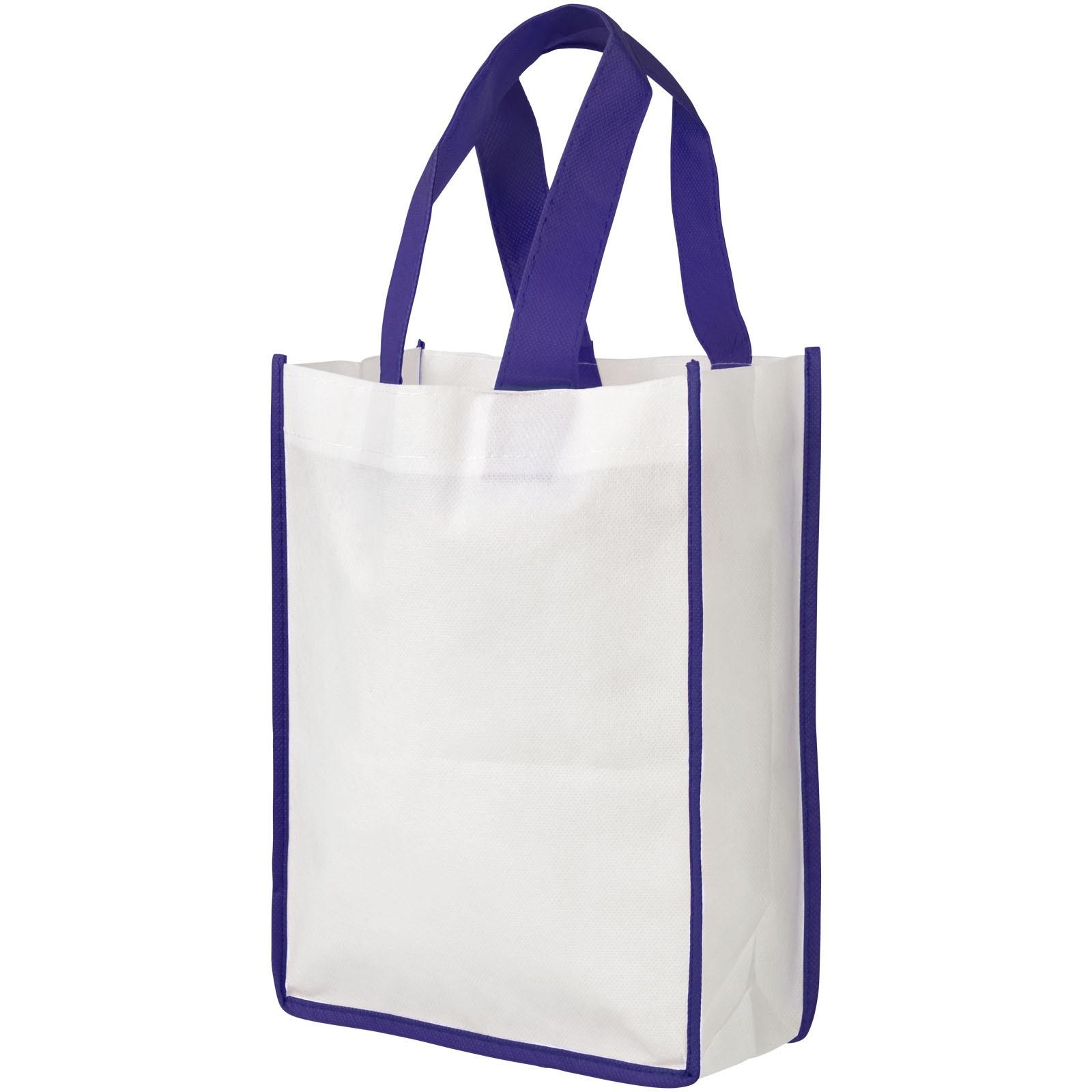 Contrast small non-woven shopping tote bag - White / Purple