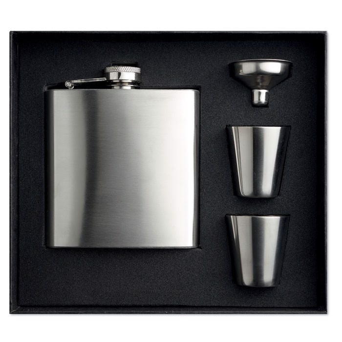 Slim hip flask w 2 cups set Slimmy Flask Set