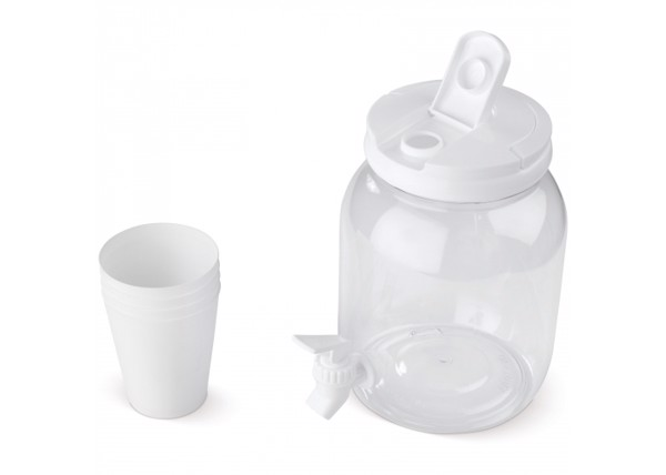 Drinks dispenser 2.5L with 4 cups - Transparent White