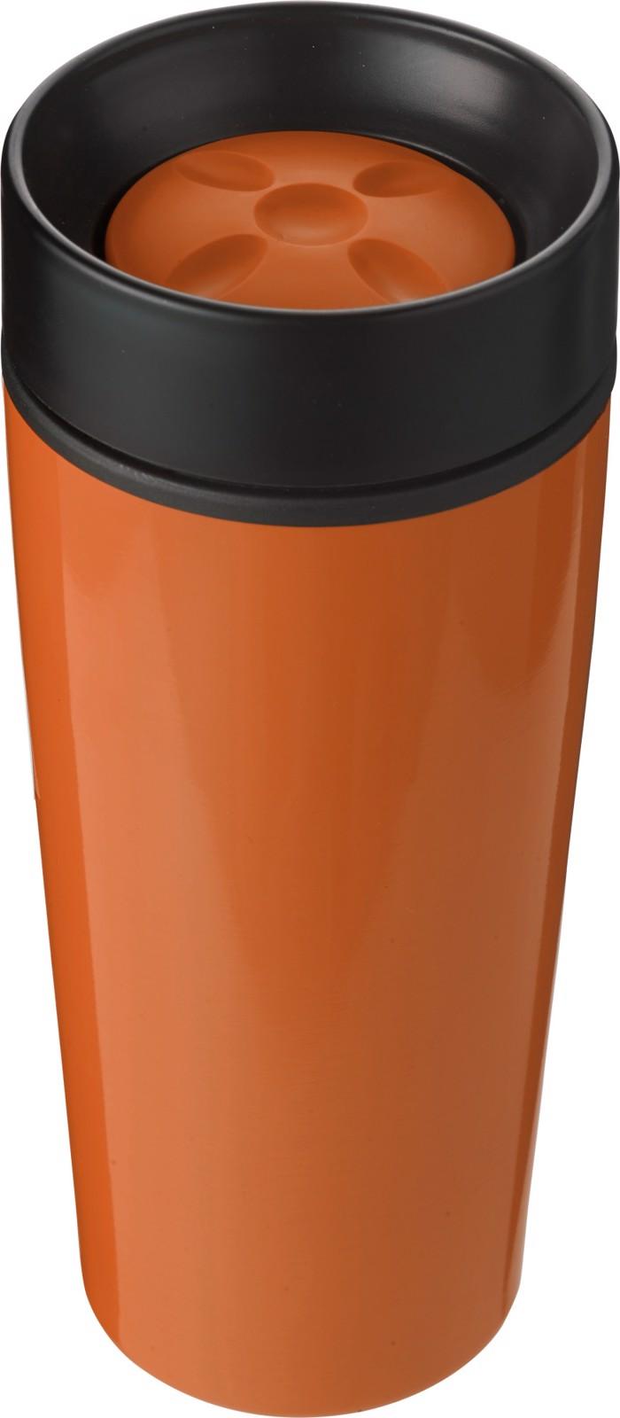 Stainless steel double walled travel mug - Orange