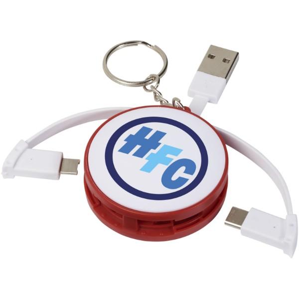 Klíčenka s nabíjeím kabelem 3 v 1 - Červená s efektem námrazy