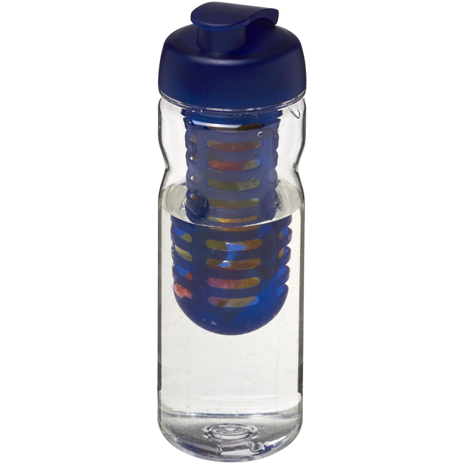 H2O Base Tritan™ 650 ml flip lid bottle & infuser - Transparent / Blue