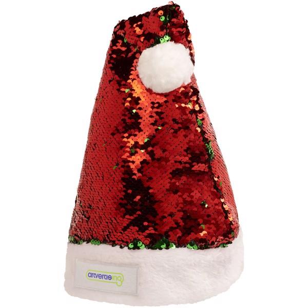 Vánoční čepec Sequins - Červená s efektem námrazy / Zelená
