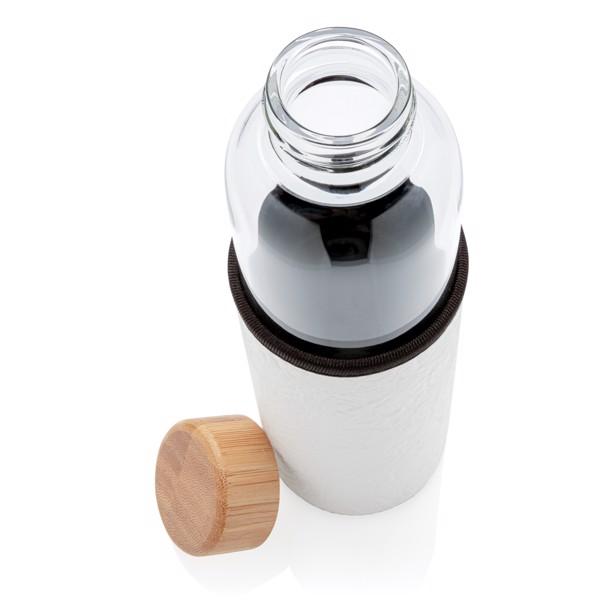 Boroszilikát üveg palack PU tartóban - Fehér / Szürke