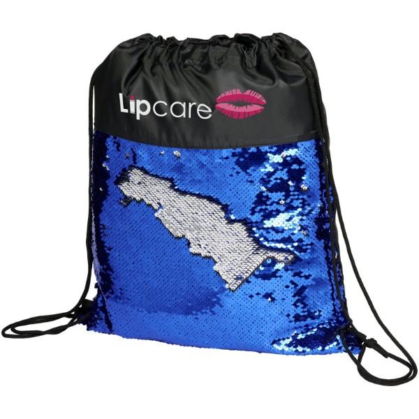 Mermaid Rucksack mit Kordelzug und Pailletten - Schwarz / Blau