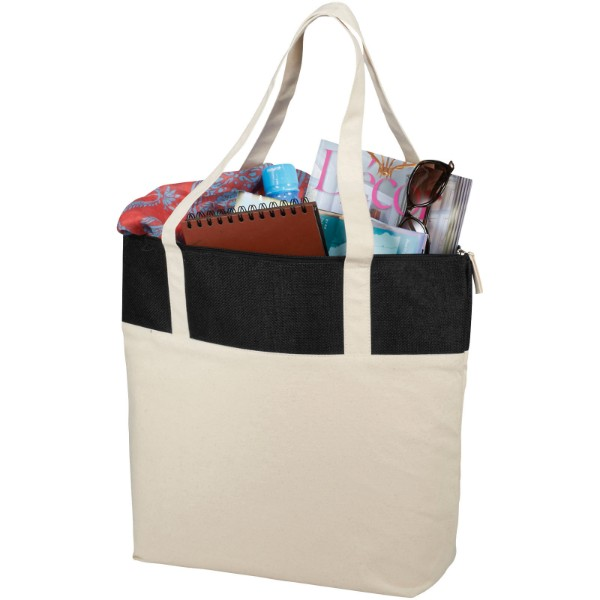 Jones 320 g/m² zippered cotton and jute tote bag - Natural / Solid Black