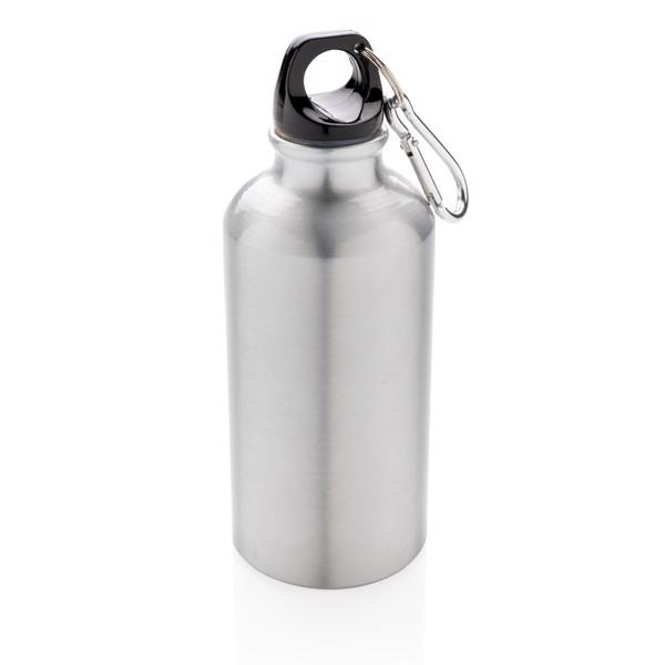 Hliníková sportovní lahev s karabinou - Stříbrná