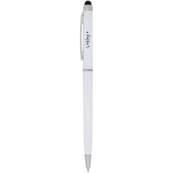 Kuličkové pero a stylus Valeria z ABS plastu - Bílá