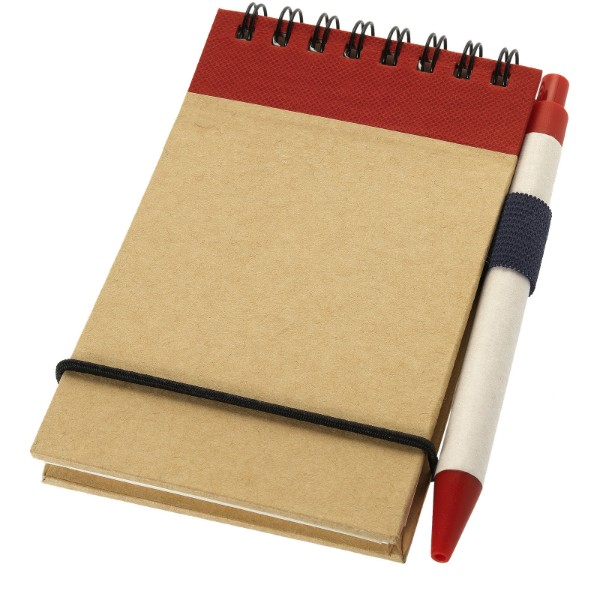 Zuse A7 Recycling Notizblock mit Stift - Natur / Rot