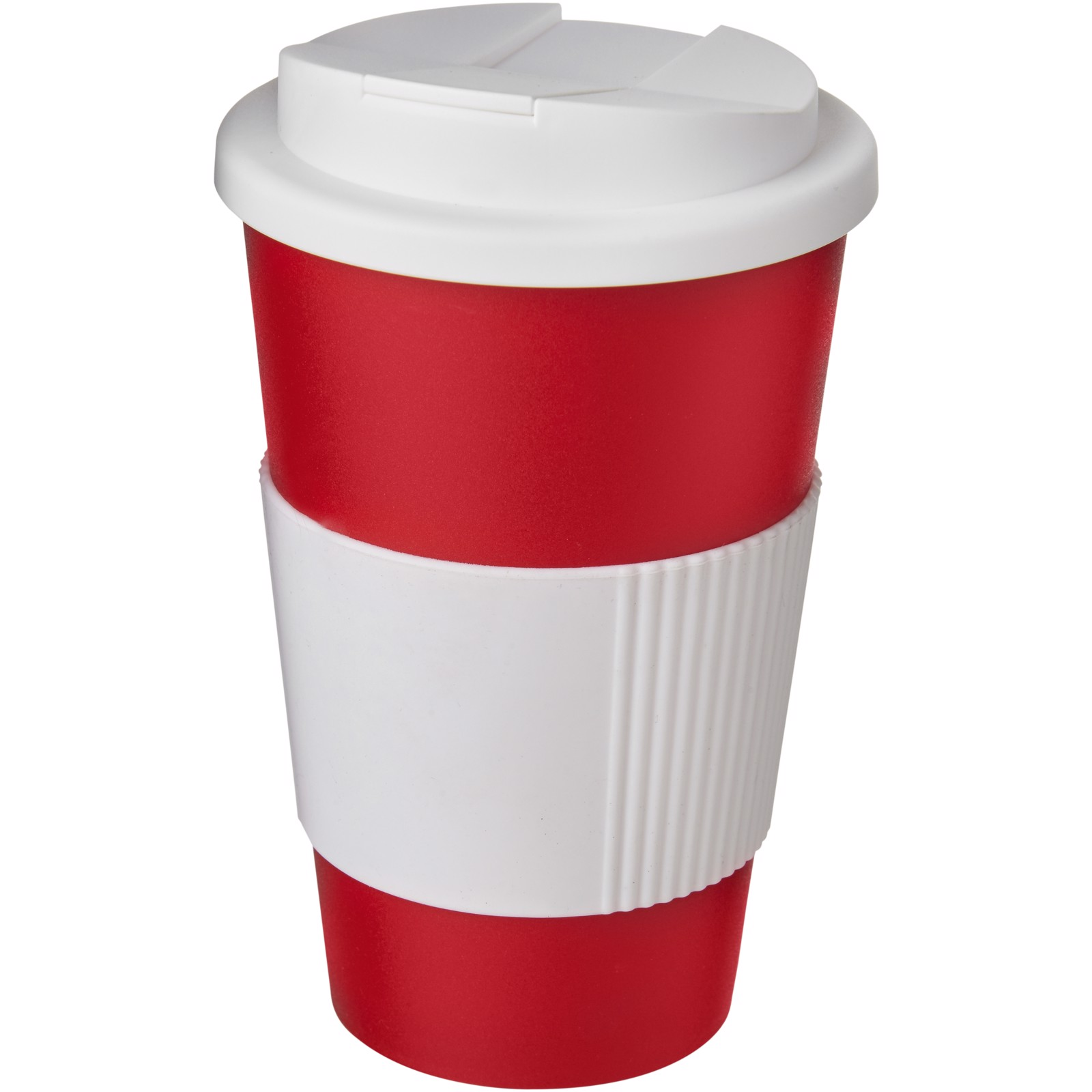 Americano® 350 ml tumbler with grip & spill-proof lid - Red / White
