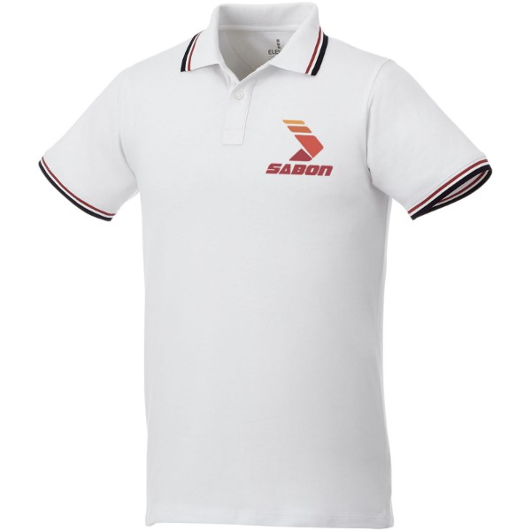 Fairfield short sleeve men's polo with tipping - White / Navy / Red / XXL